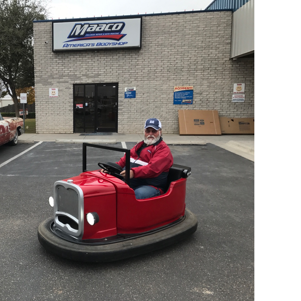 Roy Seay driving one of his toys