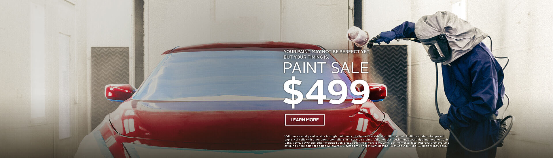 Maaco: Paint Sale starting at $499, click Learn More for further details.